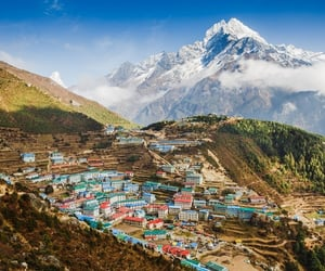 asia, mountains, and town image
