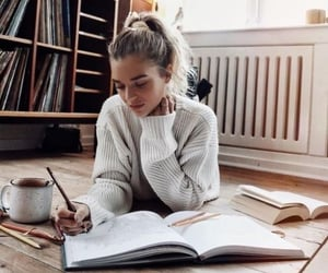 college, girl, and study image