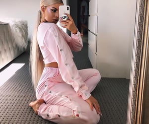blonde, pink, and ponytail image