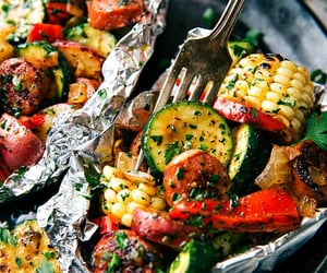 food, sausage, and veggies image