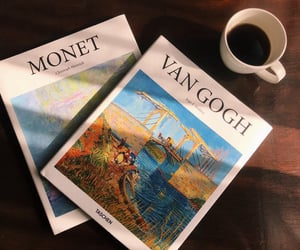 books, coffee, and monet image