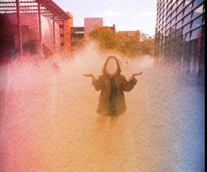 city, rainbow, and retro image