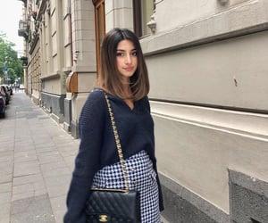bag, knitwear, and mini skirt image