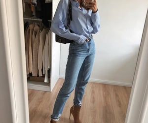 blue shirt, boots, and denim image