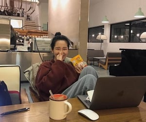 korean girl, snack, and tea image