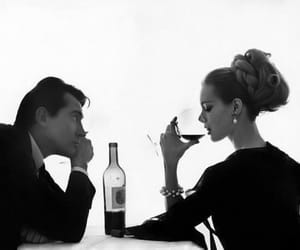 couple, wine, and black and white image