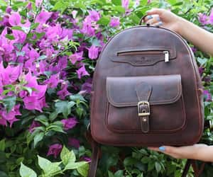 brown leather bag, etsy, and leather backpack image
