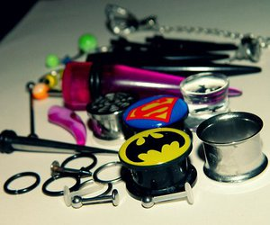 piercing, batman, and superman image
