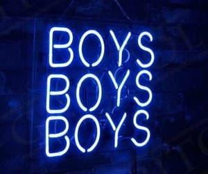 boys, neon lights, and blue image
