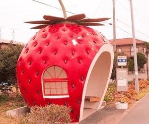 strawberry, bus stop, and kawaii image