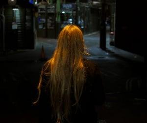 girl, night, and hair image