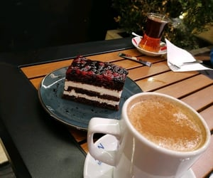 brownie, cake, and coffee image