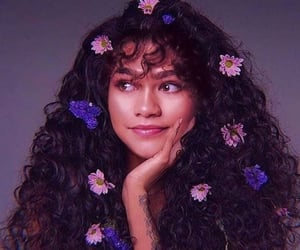 zendaya, girl, and flowers image