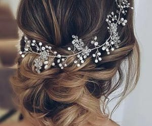 details, hair, and wedding image