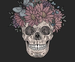 flowers, roses, and skull image