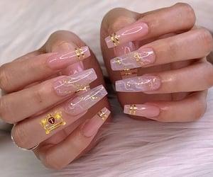 fake nails, long nails, and clear nails image