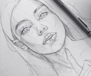 drawing, face, and girl image