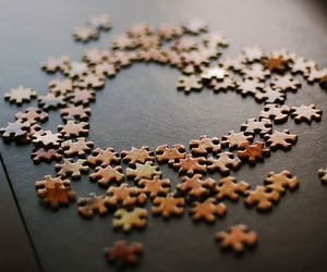 heart, puzzle, and love image