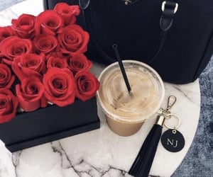 rose, bag, and coffee image