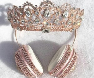 crown, headphones, and rose gold image