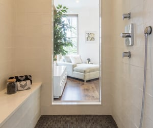 bathroom, glass, and bedroom image