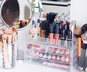 Brushes, makeup, and mirror image