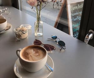 coffee, glasses, and flowers image