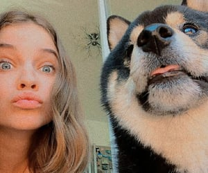 dog, friend, and girl image