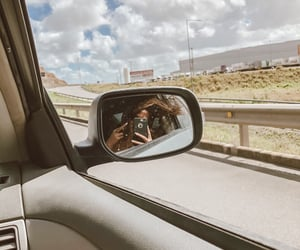 cars, girl, and mirror image