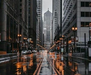 city, street, and rain image