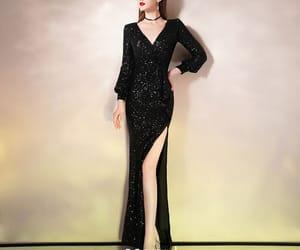 black dress, sexy dress, and sparkly dress image