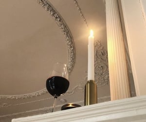 wine, candle, and decor image