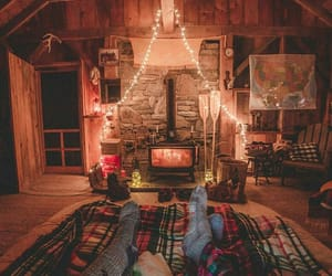 cozy, fireplace, and home image
