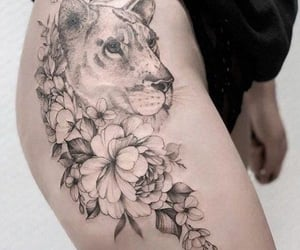 flowers, hip, and lion image