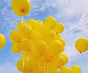 yellow, balloons, and sky image