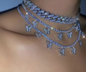 butterfly, diamond, and necklace image