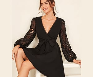 black dress, night dress, and night gown image