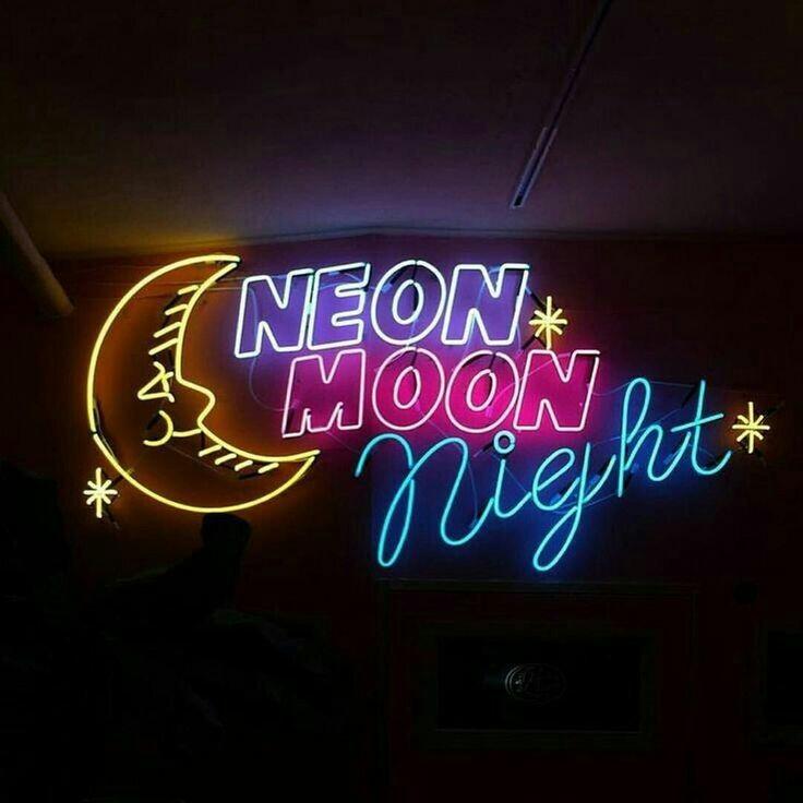 neon, moon, and light image