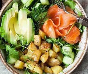 avocado, potato, and salmon image