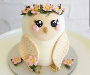 cake, owl, and tasty image