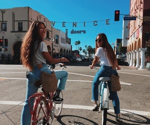 girl, bike, and friendship image