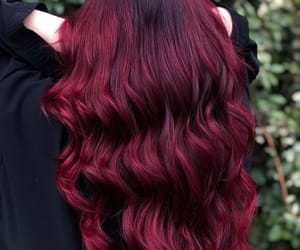 wavy hair, burgundy hair color, and claret hair color image
