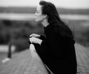 black and white, roof, and woman image