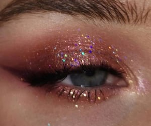 blue eyes, eyeshadow, and pink glitter image