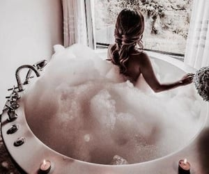 bathtub, candles, and hairstyle image
