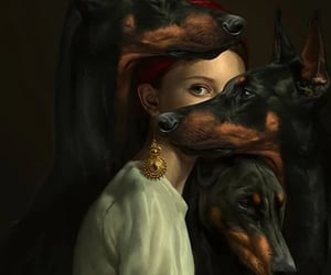 art, dog, and painting image
