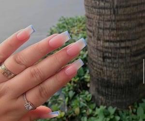 acrylic nails, blue tip nails, and short acrylic nails image