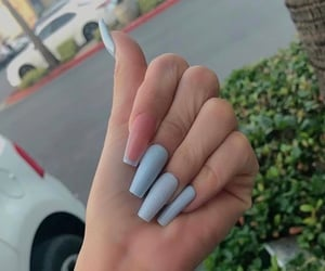 blue nails, acrylic nails, and coffin nails image