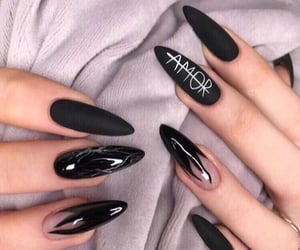 nails, black, and amor image