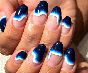 blue, long nails, and nails image